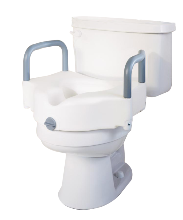 Raised toilet seat with locking arms
